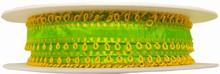 r14 Ruban vert citron avec picots jaune