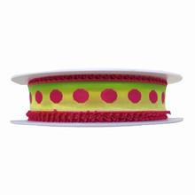 RP2 Ruban ombré vert et jaune avec picots rose vif