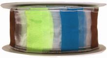 r101 Ruban semi-transparent avec rayures multicolores