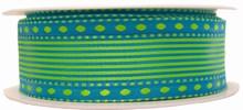 r655 Ruban laitonné vert sur bleu