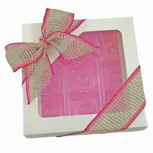cc13634 White 1/2lb Square Box with Pink Interior