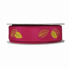 r799 Fuchsia Ribbon with Lime Green Leaf Print