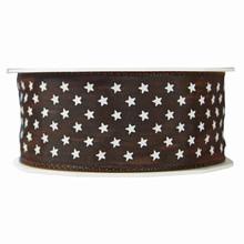 r9235 Brown Mini Stars Ribbon
