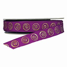 r9224 Violet Ribbon with Gold Spiral Print