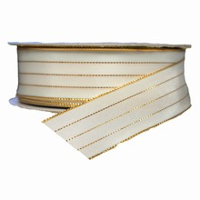 r0791 White Ribbon with Gold Filament stripes