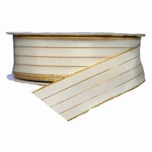 r0791 Ruban blanc à filures doré