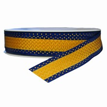r341 Gold and Navy Hellenique Print Ribbon