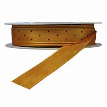 r726 Gold reversible ribbon with burgundy squares ribbon