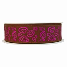 Brown ribbon with modern seashell motif in metallic violet