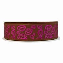 Ruban marron avec motif coquillage moderne violet métallique