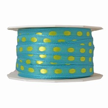 r6978 Turquoise ribbon with lime green dots
