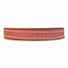 r291 Ruban motif hellenique rose pâle