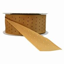 r725 Gold reversible ribbon with burgundy squares ribbon