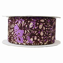 r463 Abstract Brown and Purple Floral Ribbon