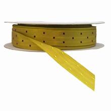 r736 Khaki reversible ribbon with burgundy squares ribbon