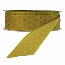 r734 Khaki reversible ribbon with burgundy squares ribbon
