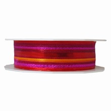 r662 Sheer Metallic Fuchsia Striped Ribbon
