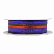 r337 Sheer Metallic Striped Purple and Copper Ribbon