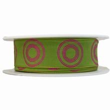 r343 Ruban cercles roses sur vert
