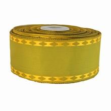 r179 Ruban vert organique avec bordure tissé or