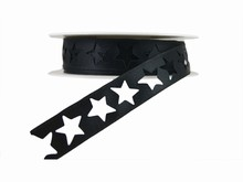 r368 Shimmery Black Star Ribbon