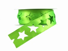 r356 Shimmery Bright Green Star Ribbon