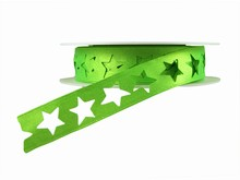 r355 Shimmery Bright Green Star Ribbon