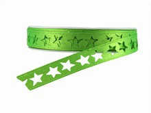 r354 Shimmery Bright Green Star Ribbon