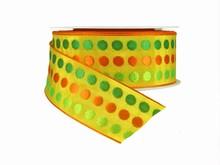 r334 Ruban jaune motif petits pois tissé