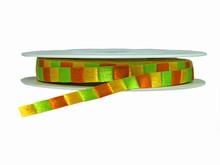 r436 Ruban satiné rayures orange vert et jaune