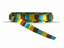 r433 Turquoise Brown and Yellow Checkered Ribbon