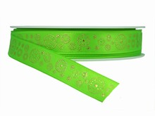 r317 Green Ribbon with Gold Dotted Circles