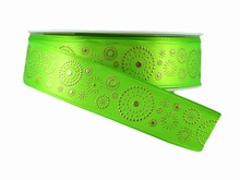 r318 Green Ribbon with Gold Dotted Circles