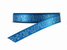 r316 Ruban bleu avec cercles en points argentés