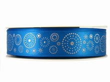 r315 Blue Ribbon with Silver Dotted Circles
