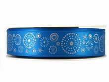 r315 Ruban bleu avec cercles en points argentés