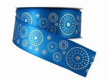 r314 Blue Ribbon with Silver Dotted Circles