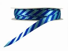 r307 Blue Diagonal Stripes Ribbon with Shiny Finish