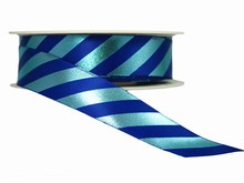 r306 Blue Diagonal Stripes Ribbon with Shiny Finish