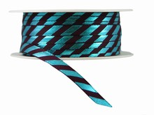 r302 Blue and Brown Diagonal Stripes Ribbon with Shiny Finish