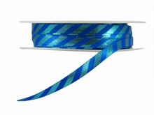 r301 Blue Diagonal Stripes Ribbon with Shiny Finish