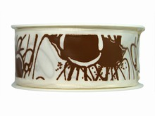 r375 White Ribbon with Chocolate Splatter