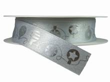 r621 Ruban ornements de Noël monochrome argent