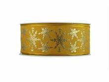 r643 Gilded Metallic Snowflakes on Gold Ribbon