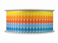 r660 Ruban imprimé oeuf de Pâques bleu, orange et jaune