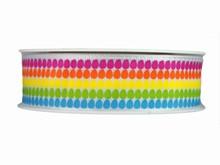 r663 Ruban imprimé oeuf de Pâques multicolores