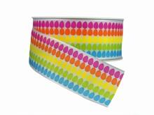 r665 Ruban imprimé oeuf de Pâques multicolores