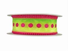 r254 Ombre Green Ribbon with Fuchsia Picot Trim