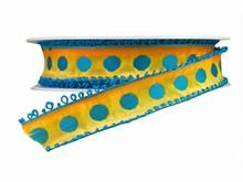 r252 Ombre Orange Ribbon with Blue Picot Trim