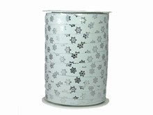 r971 Bolduc Curling Ribbon White and Silver Metallic Snowflakes
